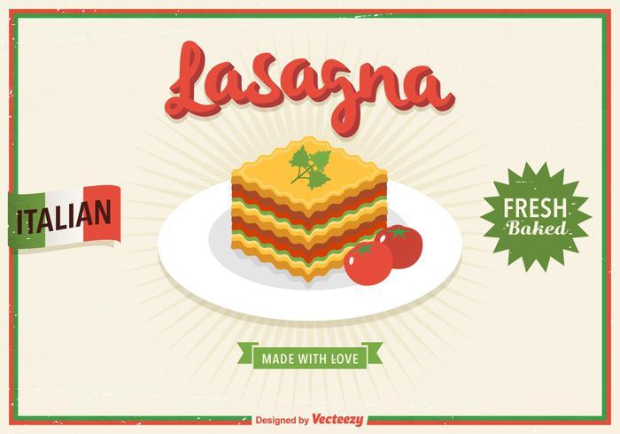 Poster di vettore retrò di Lasagna gratis