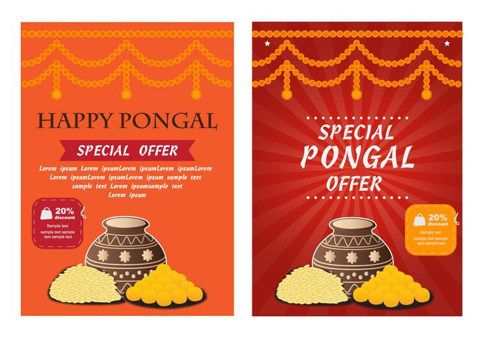 Happy Pongal Poster Flyer Vector