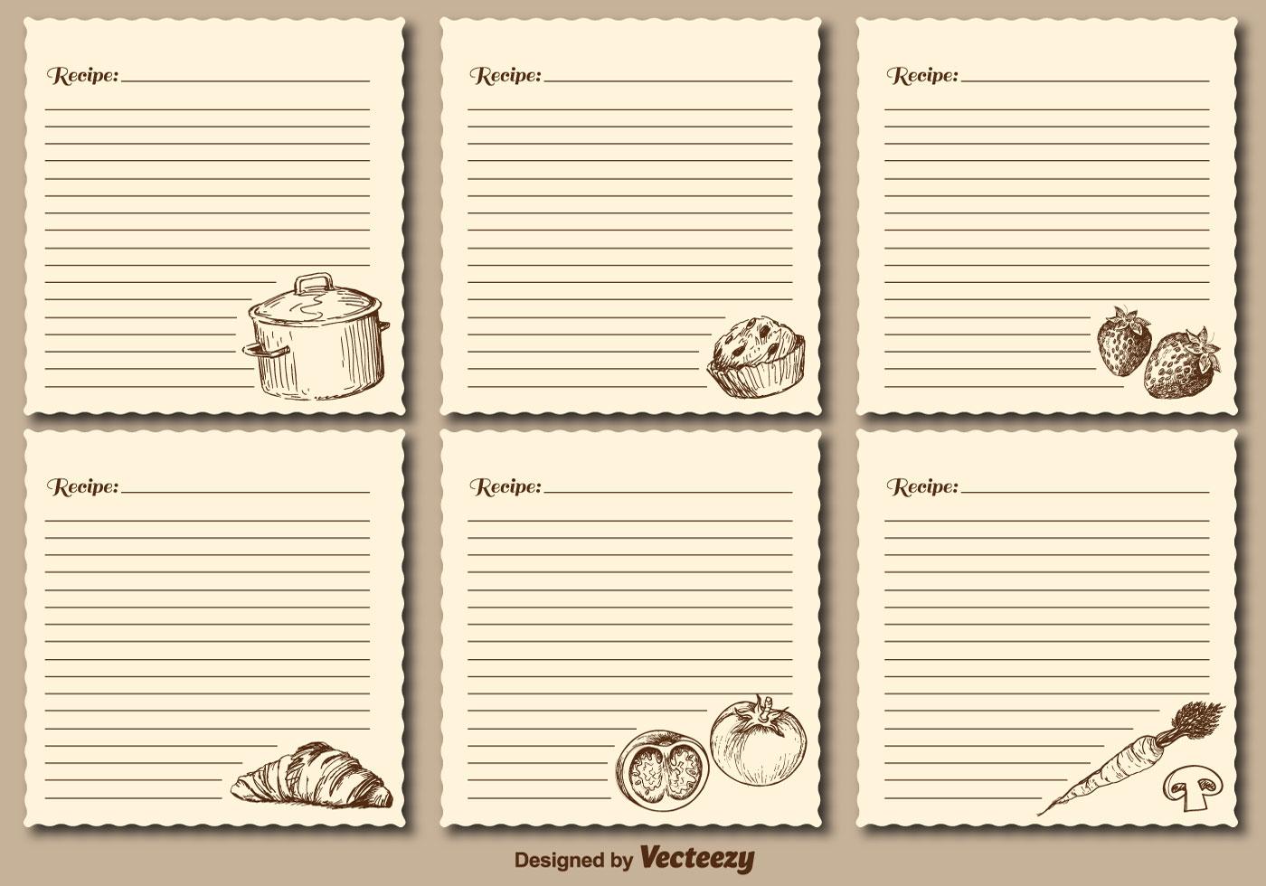vintage recipe cards vector templates