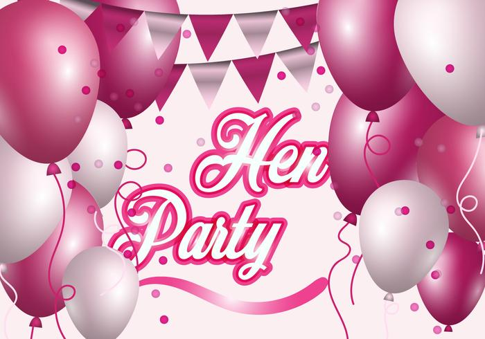 Hen Party With Pink And White Balloon Illustration