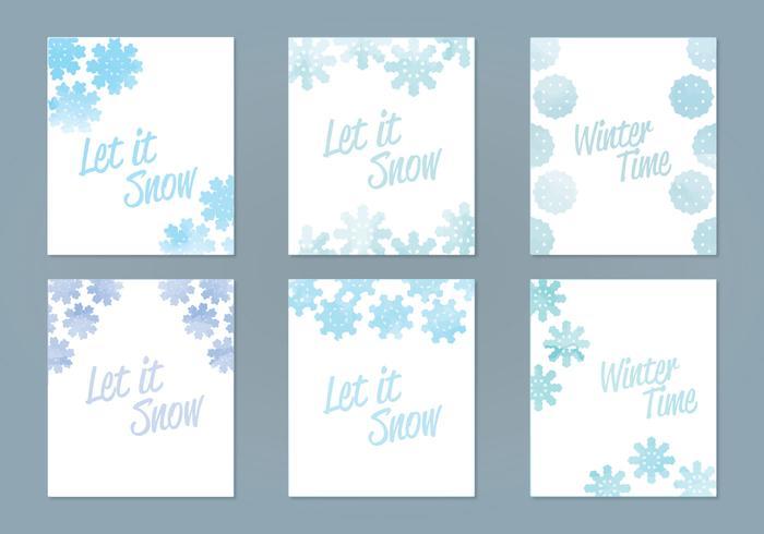 Vector Waterverf Sneeuwvlok Kaarten