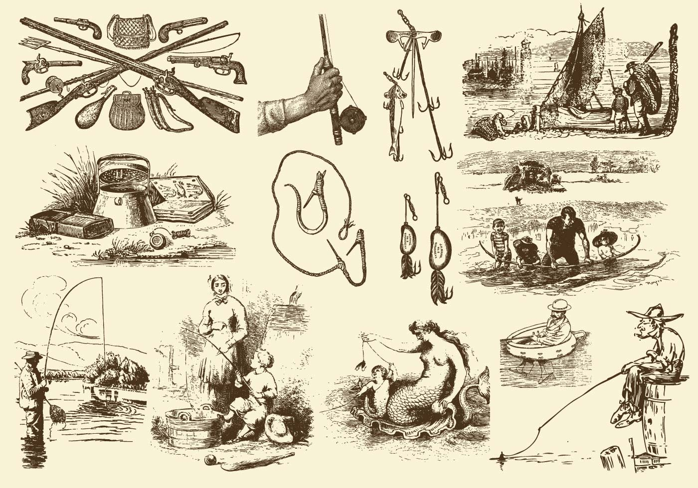 Sepia Fishing Rod Illustrations Download Free Vectors