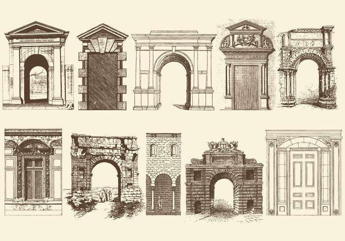 Sepia Doors Portals And Archs