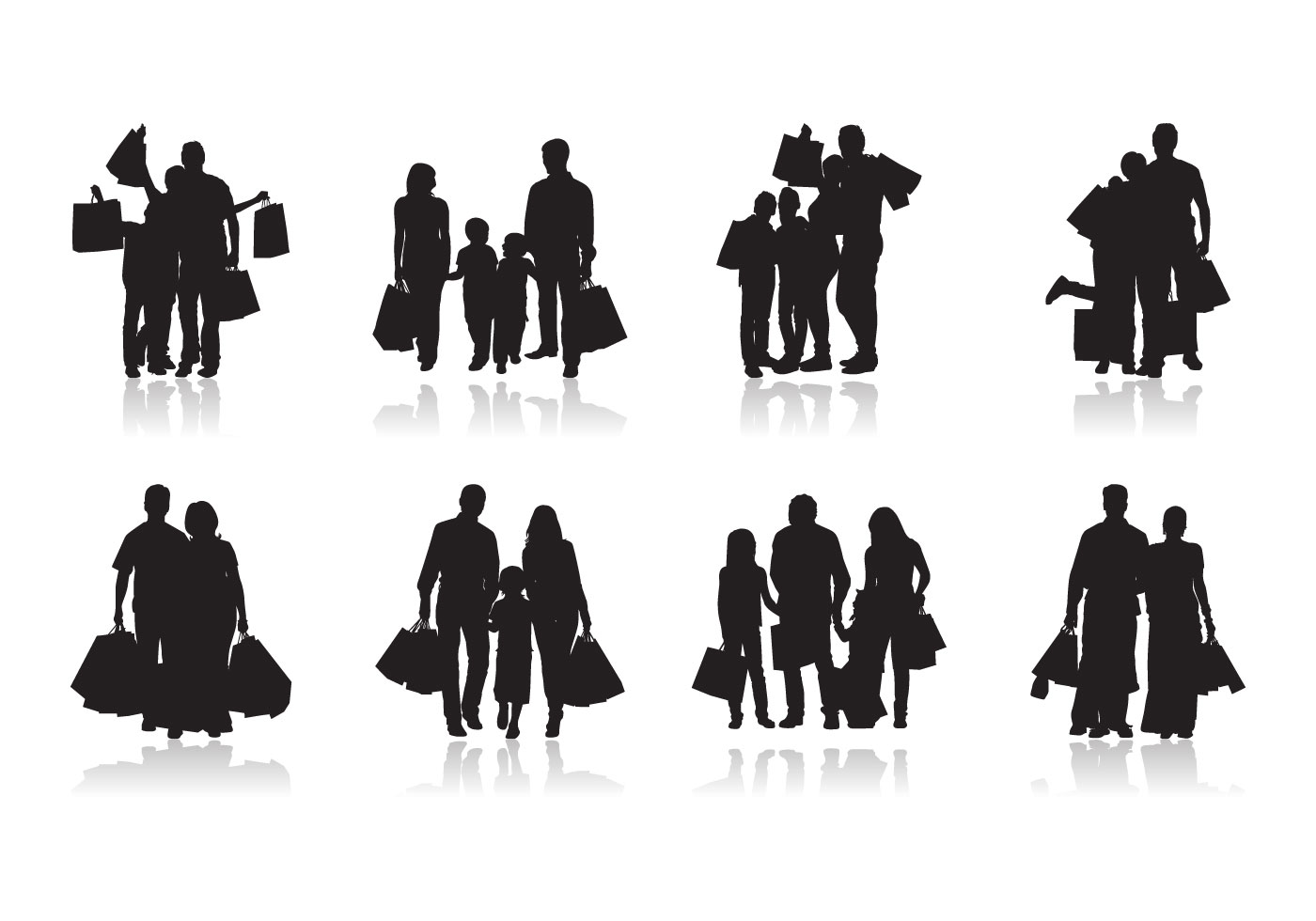 Family Shopping Silhouette Vector Download Free Vectors