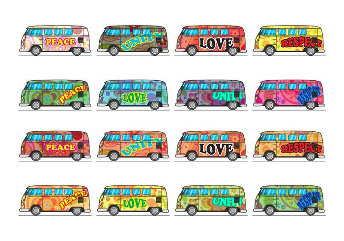 Vetor de ícones de ônibus hippie gratuito