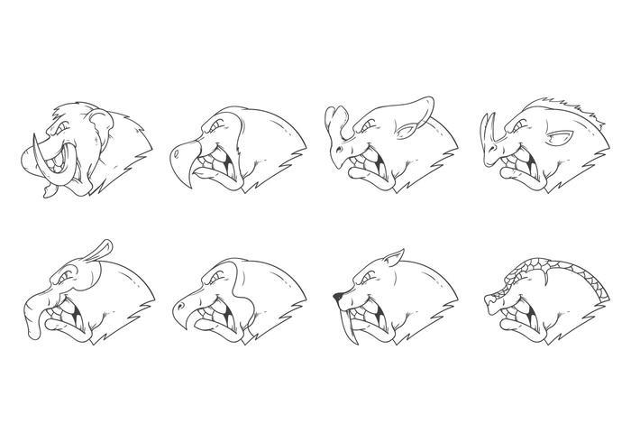 Libre Edad de Hielo Animal Head Mascot Vector