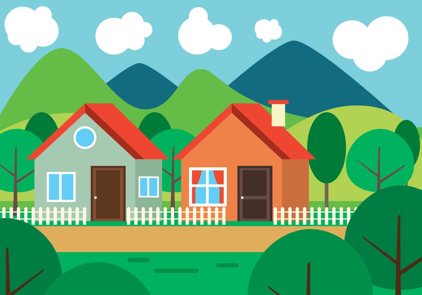 Landscape Illustration Vector Free: Free Flat Design Vector Landscape