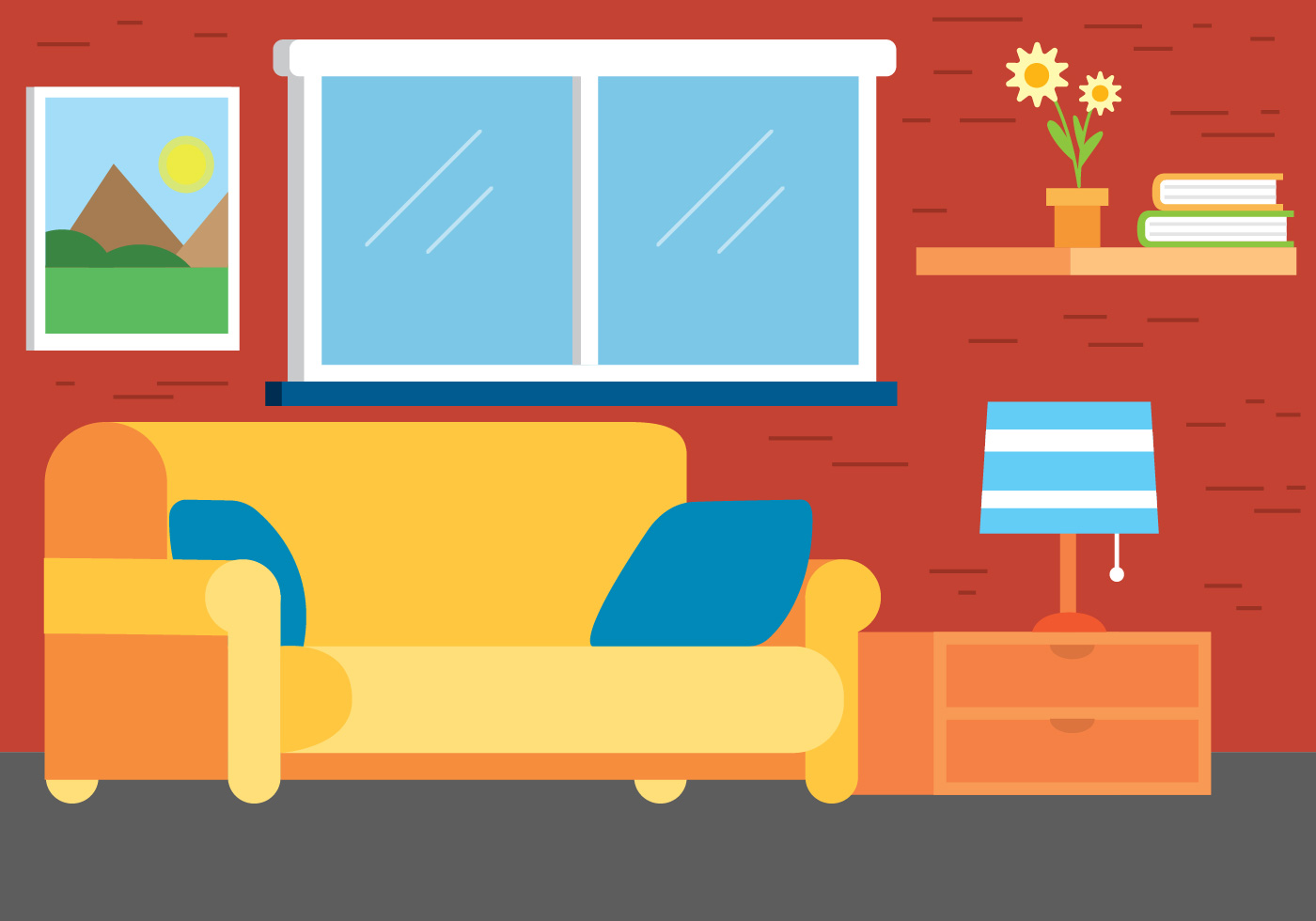 Flat design vector room design download free vector art for Design my room free