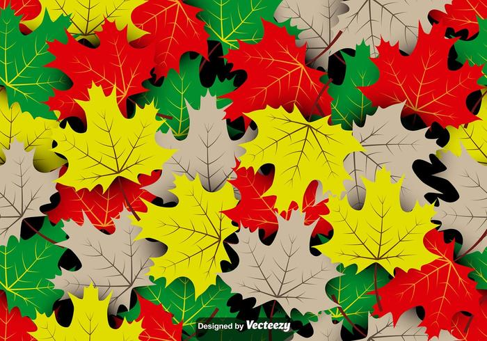 Vector Seamless Pattern Of Maple Autumn Leaves