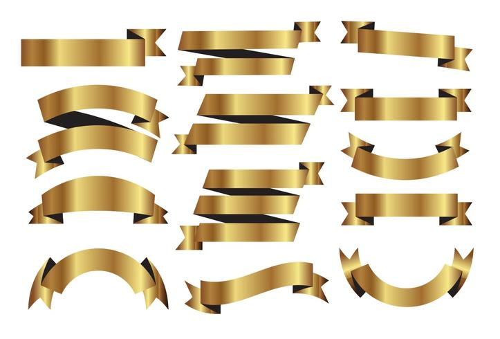 Golden Ribbons Vector Set