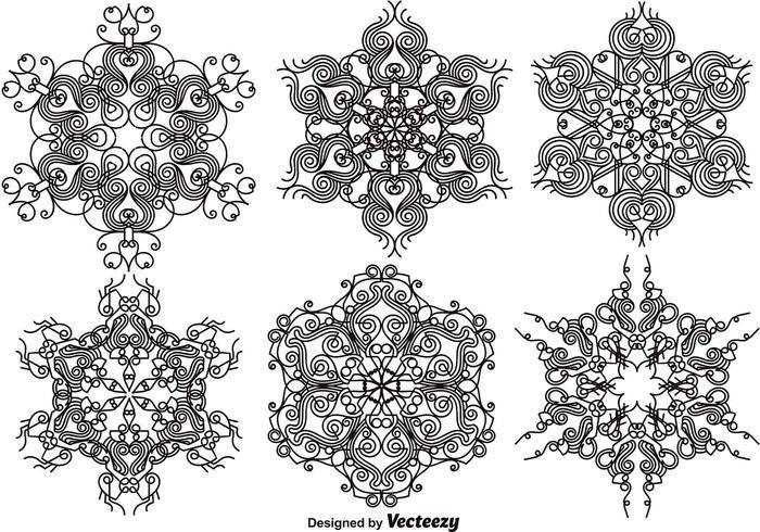 Flocons de neige ornementaux élégants - Ensemble vectoriel