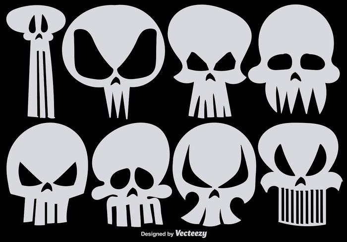 Set of Vector Hand Drawn Skulls