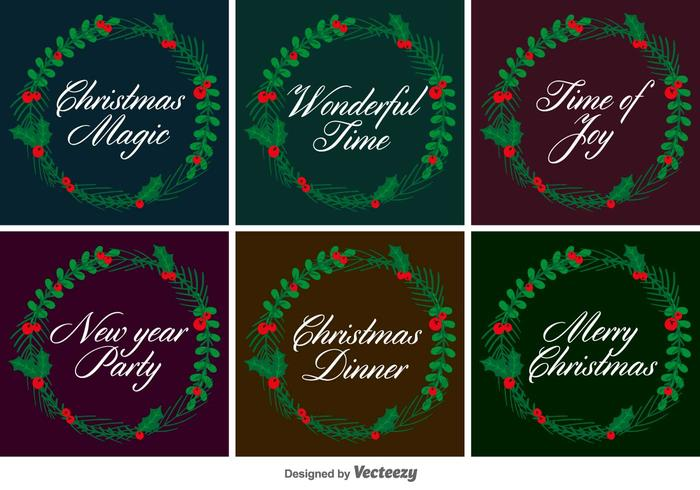 Typographic Christmas Vector Wreaths