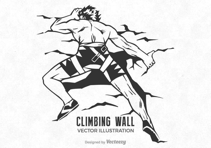 Illustrazione vettoriale di muro libero uomo arrampicata