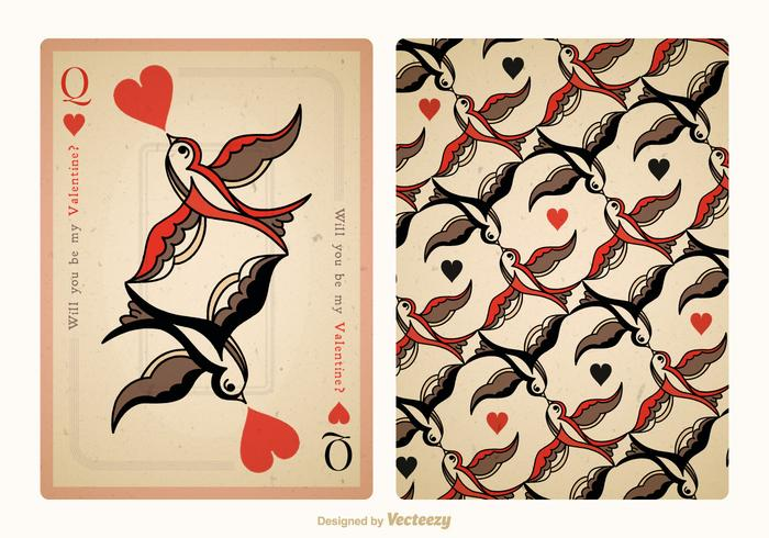 Free Vector Vintage Valentine Playing Card Back