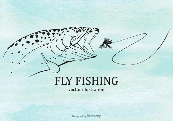Ilustración libre de la pesca de la mosca