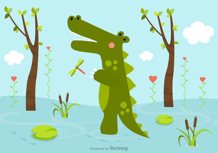 Cartoon Crocodile In Swamp Vector