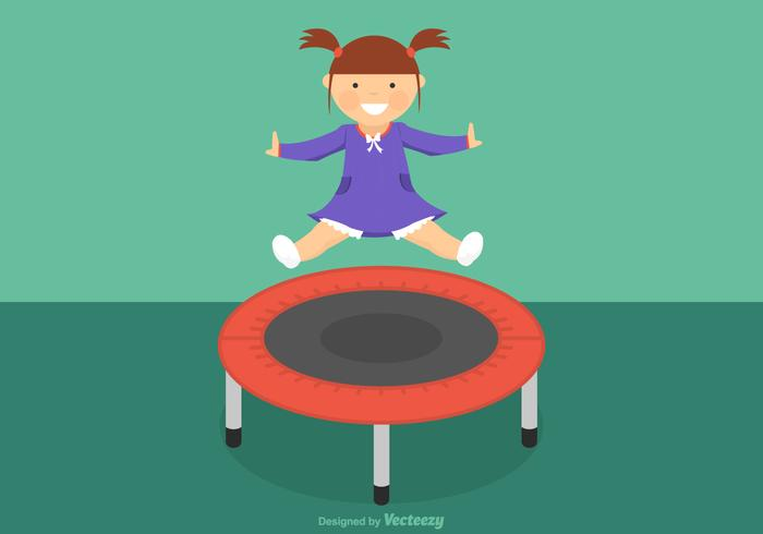Free Girl Jumping On Trampoline Vector