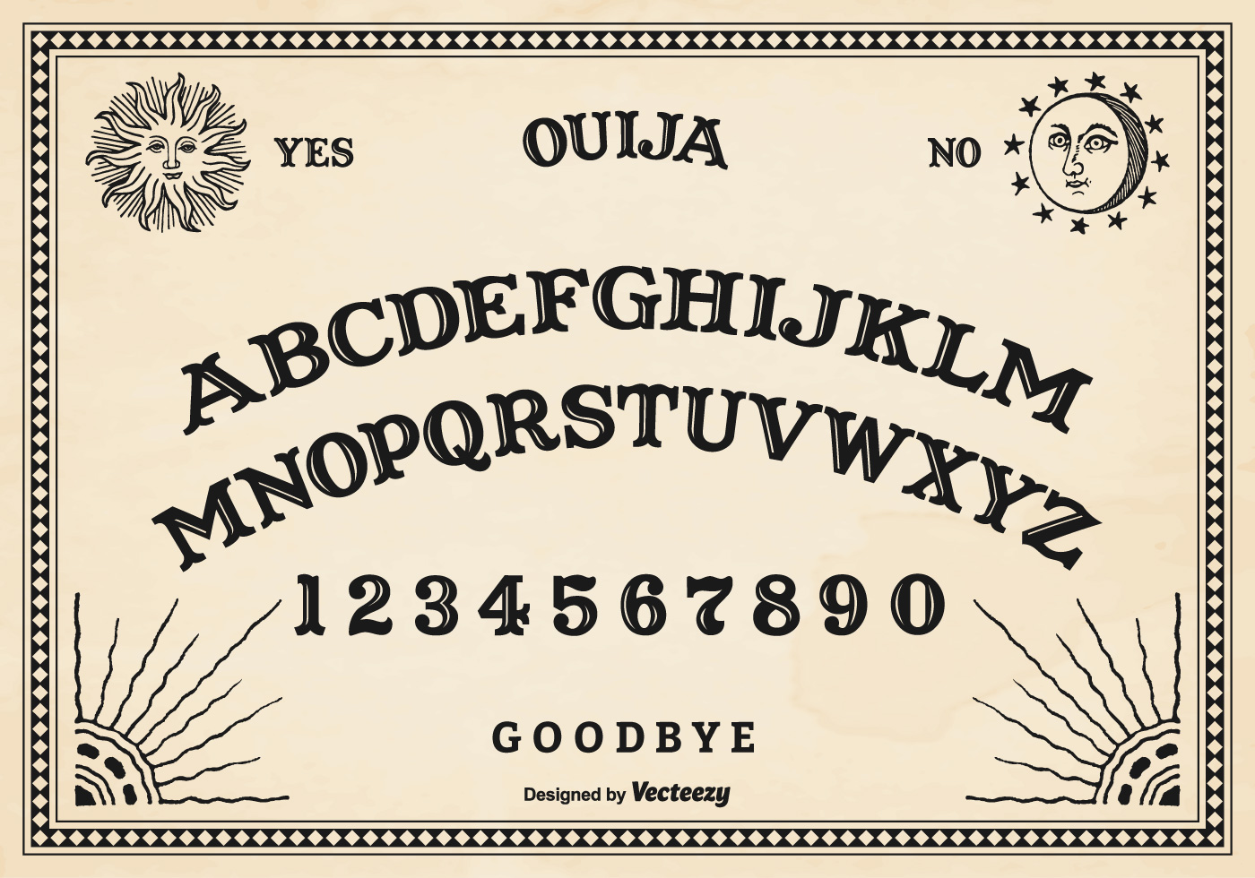 Universal image intended for printable ouija board template