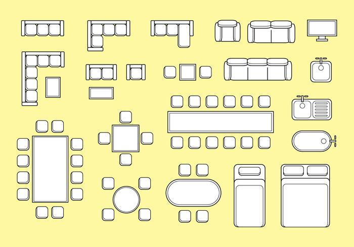 Free floorplan furniture vector download free vector art for Floor plan furniture planner