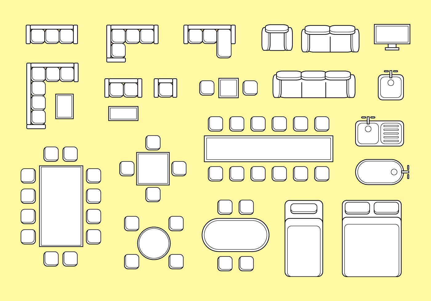 Floorplan Furniture Vector