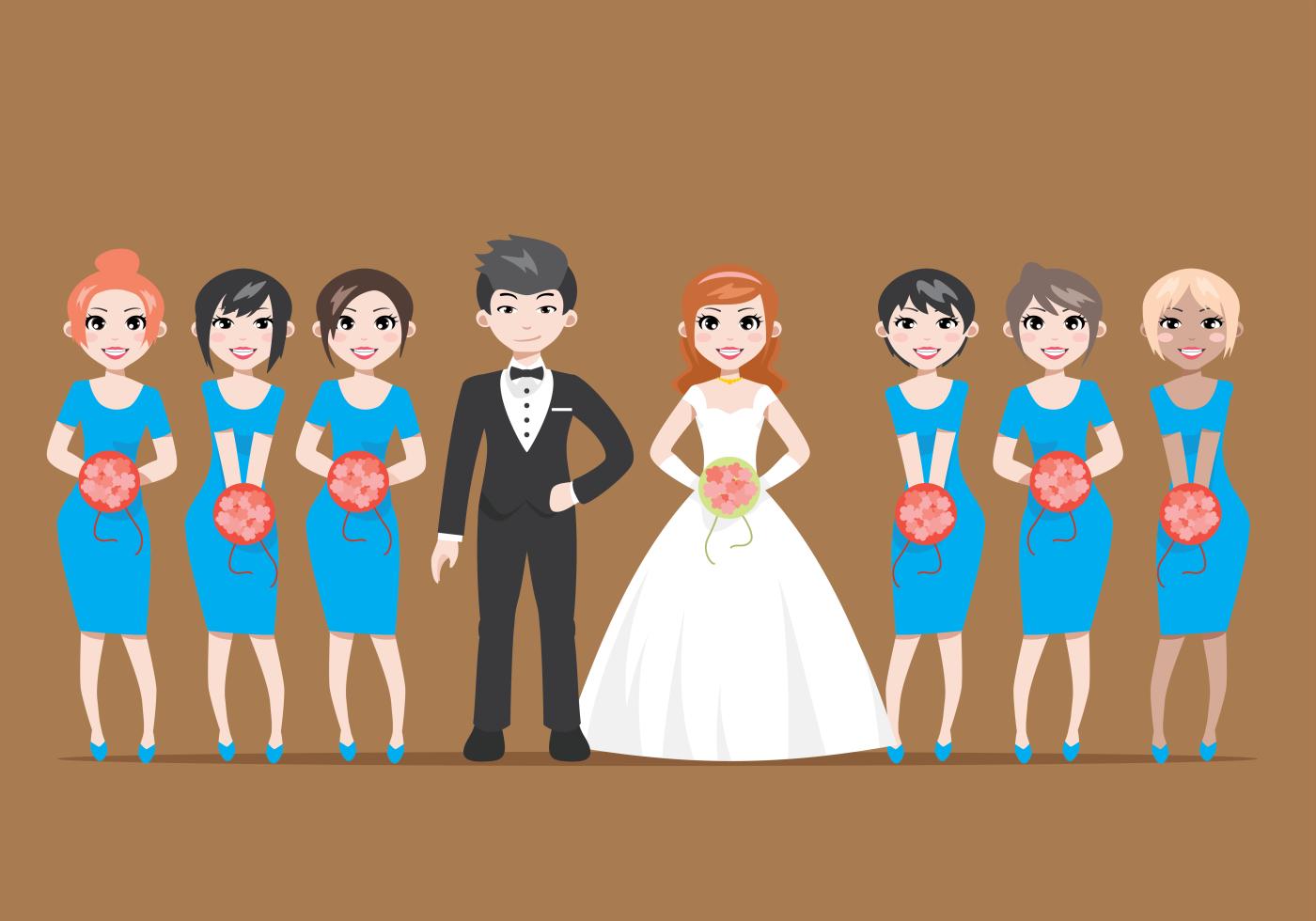 Novia de la boda y ilustración de dibujos animados de damas de honor ...