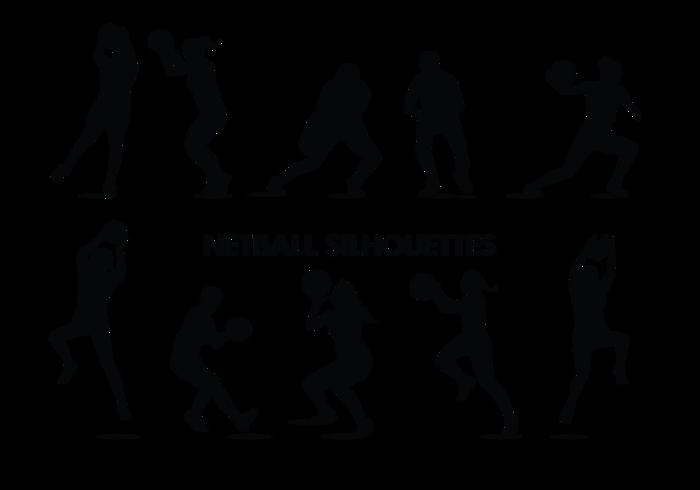 Netball speler silhouetten vector