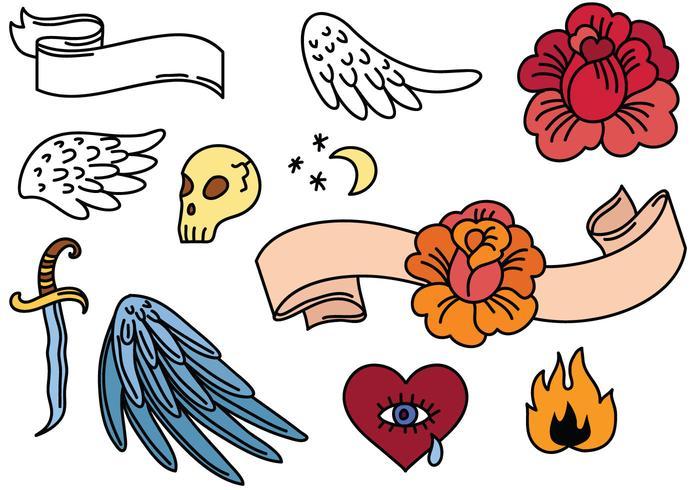 Vecteurs gratuits de tatouage simple