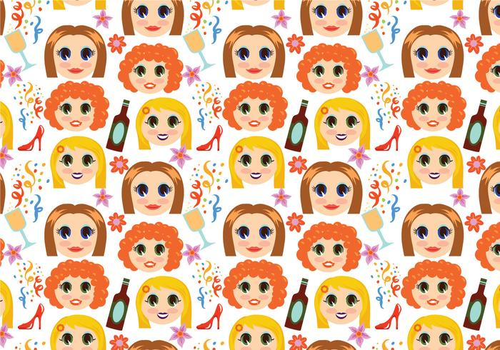 Free Girls Night Pattern Vectors