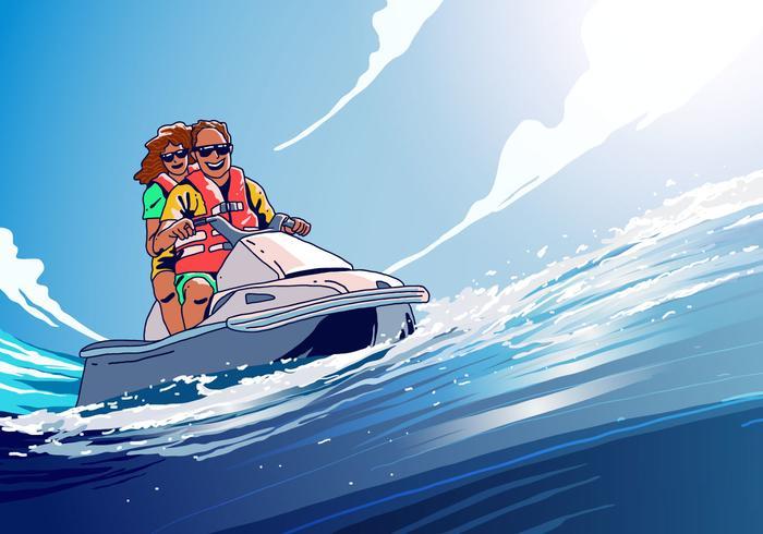 Riding Jet Ski Vector