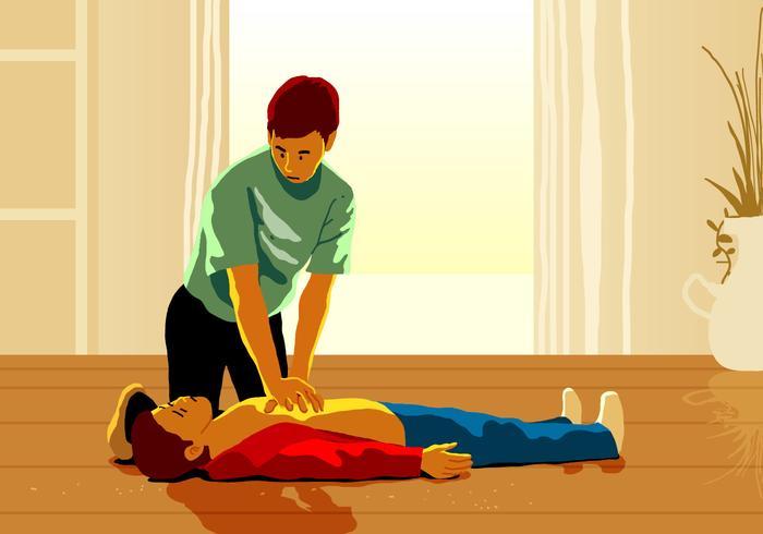 Un homme faisant un sauvetage CPR