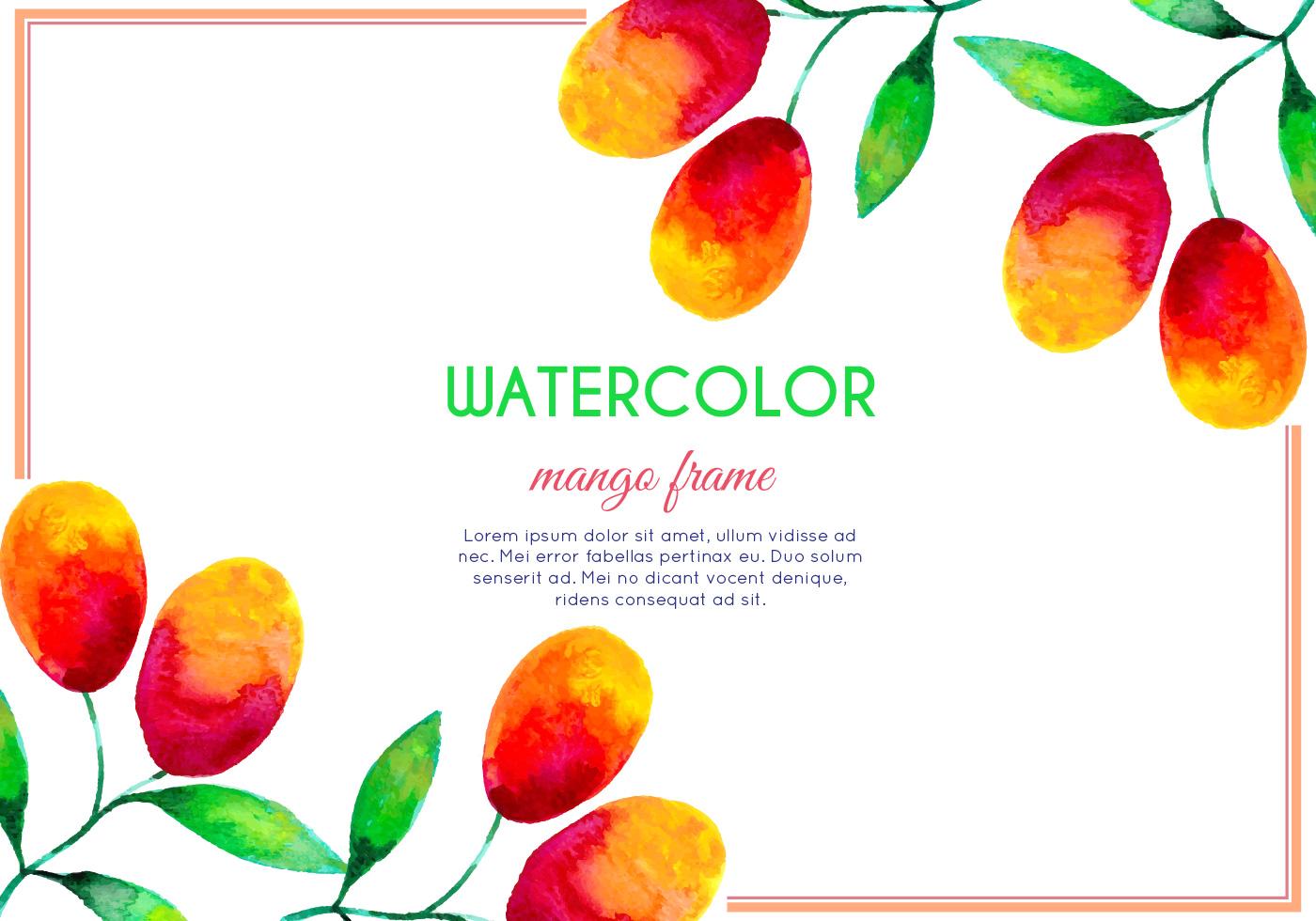 Vector Watercolor Mango Frame - Download Free Vector Art, Stock ...