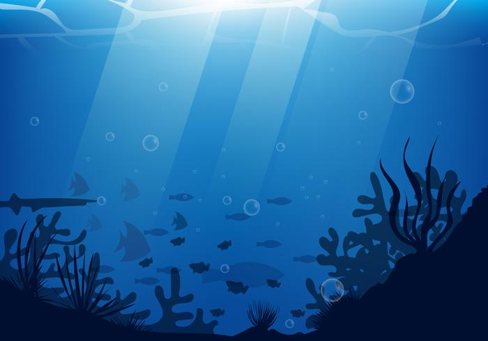 Under Water Scene With Silhouette Coral And Fish Illustration