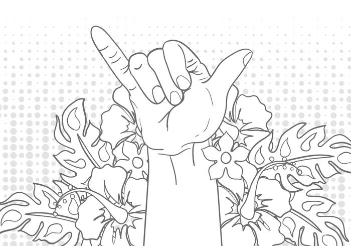 Shaka Sign Gesture With Flower Illustration