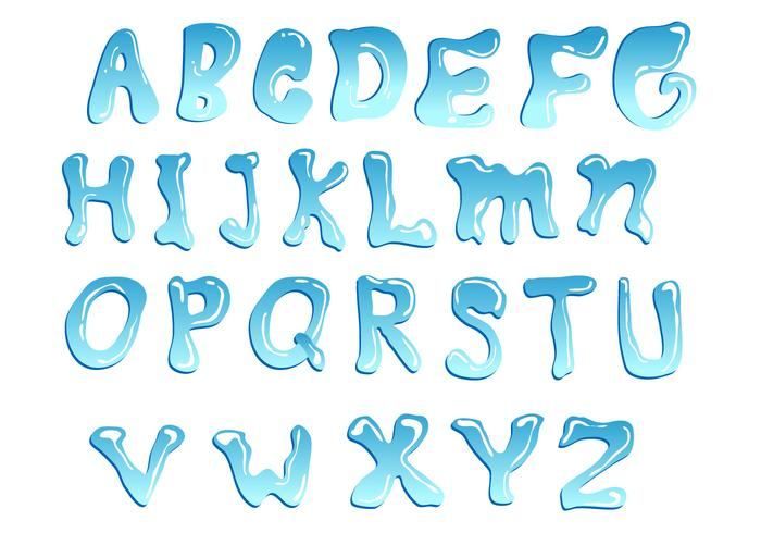 Blue Water Font Vector