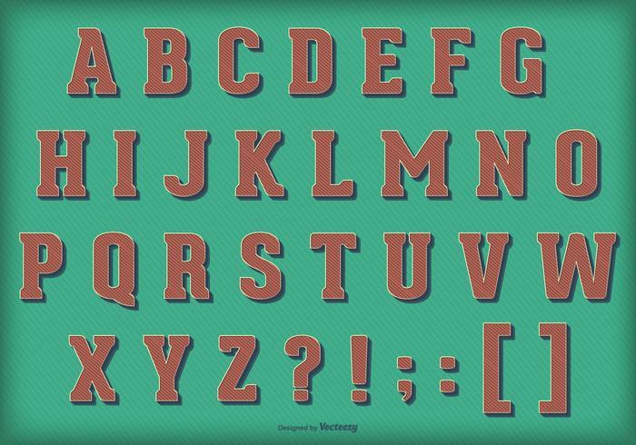 Alfabeto vettoriale vintage retrò