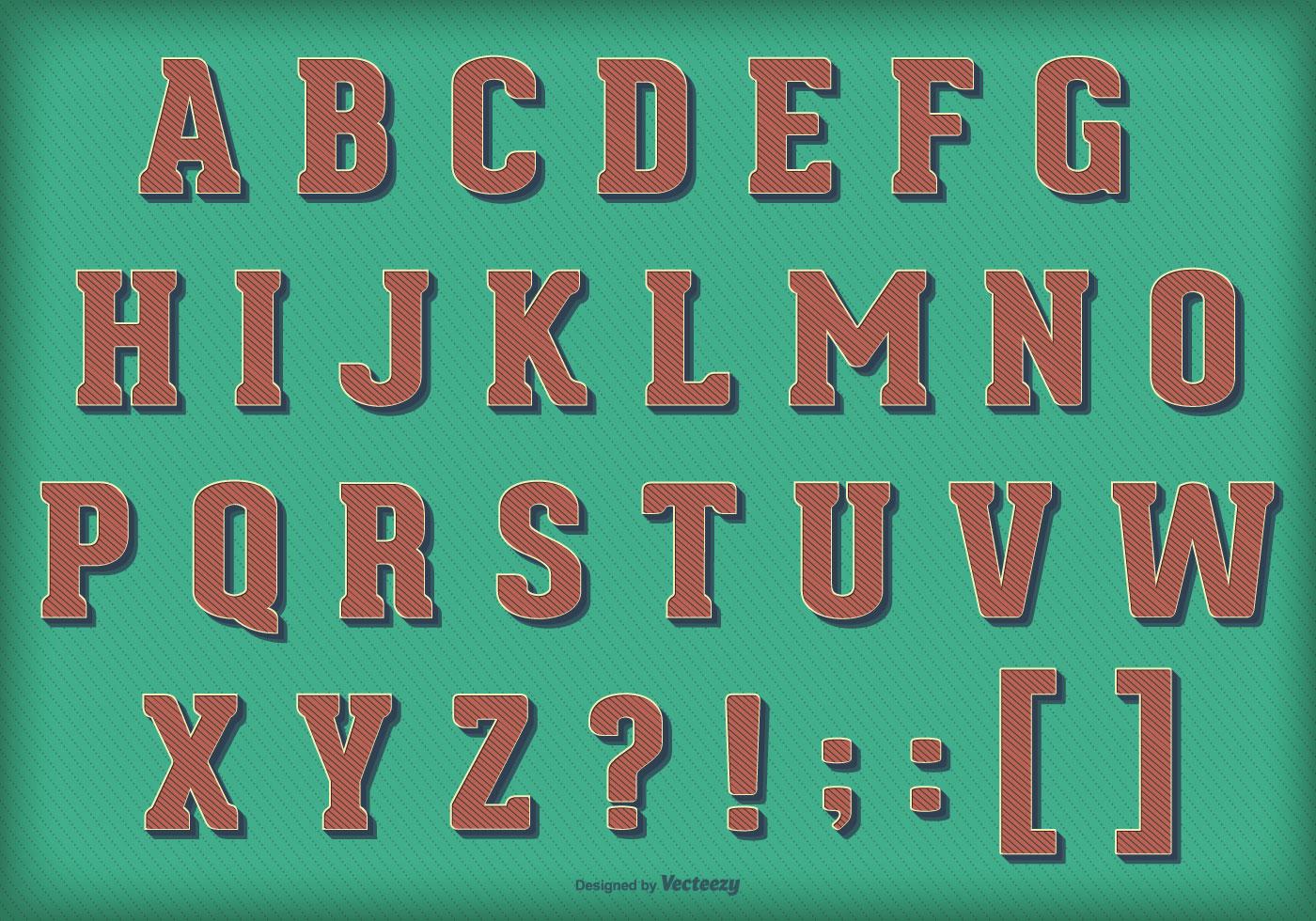 retro vintage vector alphabet