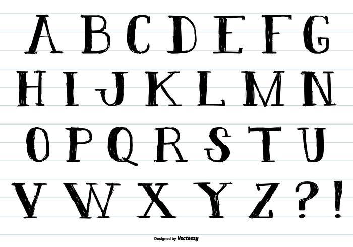Alphabet de style à encre dessiné à la main