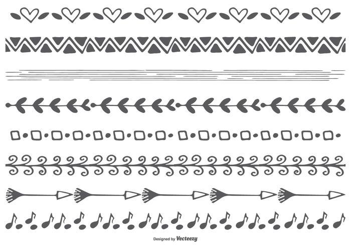 Cute dibujado a mano las fronteras del vector