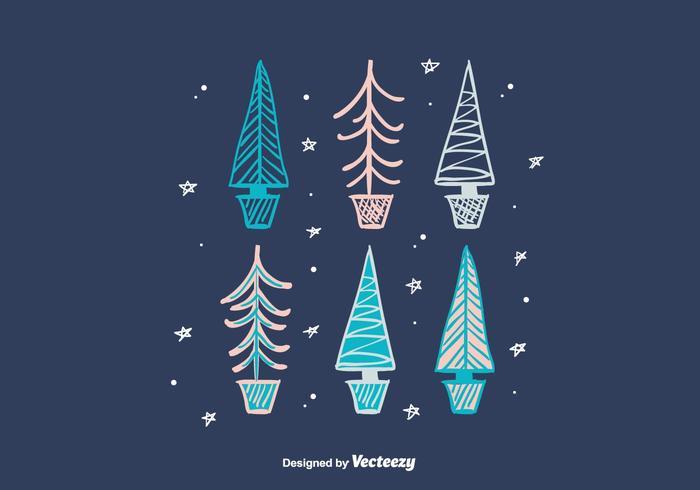 Hand Drawn Winter Trees vector