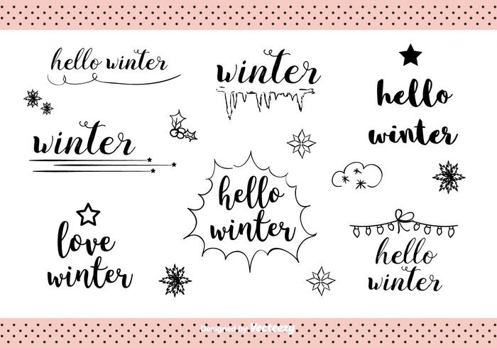 Hand Drawn Winter Labels Vector