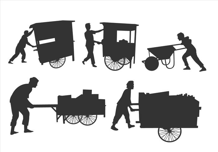 Man Pushing Silhouettes Free Vector