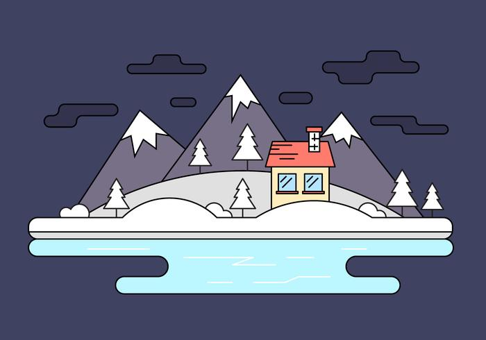 Snow Capped Island Vector Illustration