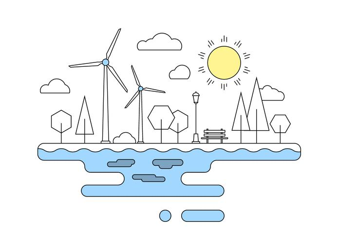 Green Energy Landscape Vector Illustration