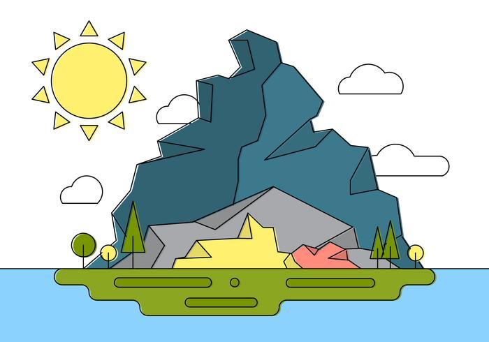 Stenig landskap ö vektor illustration