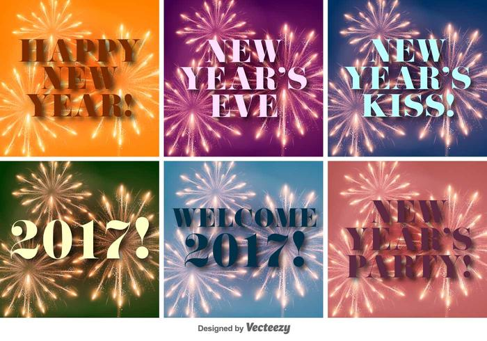 Gott nytt år 2017 Vector Bakgrunder