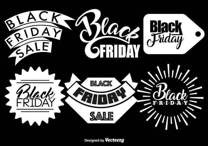 Vector Set Of 6 Black Friday Badges
