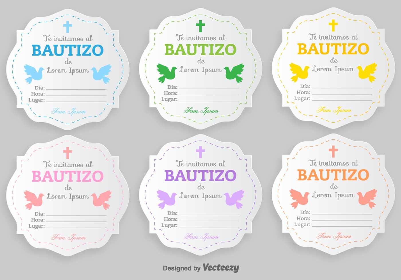 bautizo vector invitations blank template