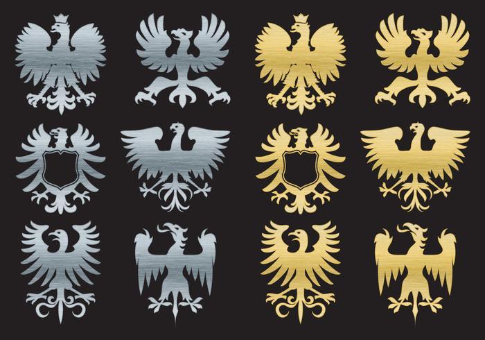 Siluetas águila heráldica vector