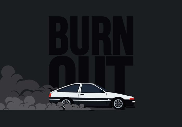 AE86 Auto Drifting en Burnout Illustratie